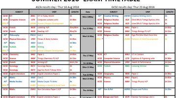 Summer 2018 ECS Public Exam Timetable