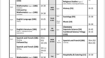 Y11 Mock Examinations - Mon 3 Dec 2018