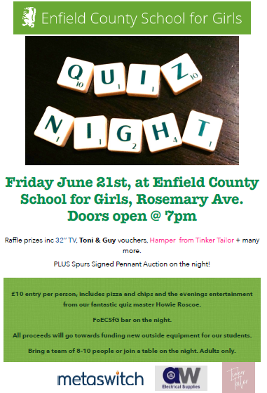 Quiz Night! - Latest News - Enfield County School for Girls