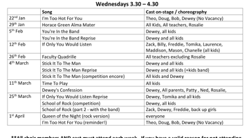 Music Rehearsal Schedule - 'School of Rock'