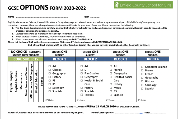 Y9 Options Form - 2020