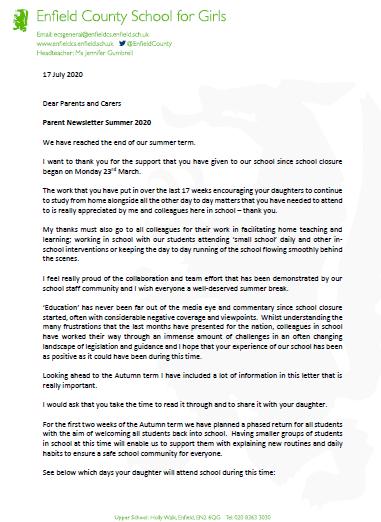 Head teacher letter