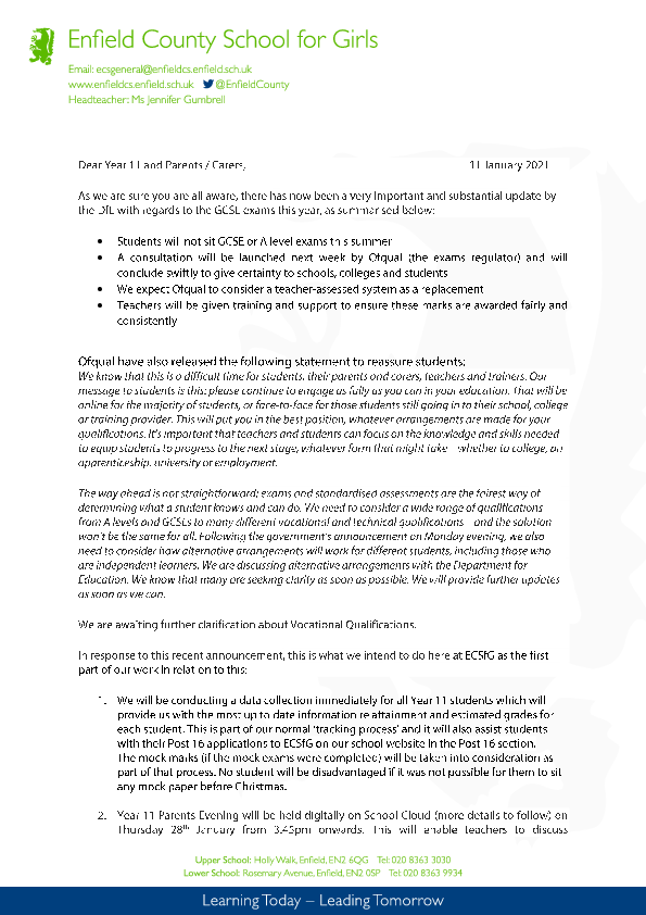 Headed Paper Year 11 letter