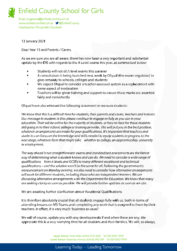 Headed Paper Year 13 letter