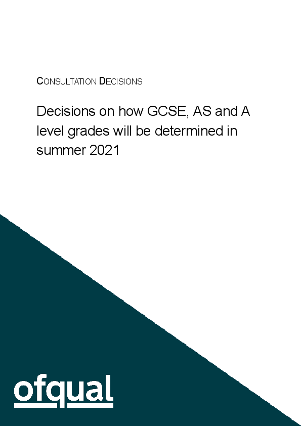 6747 1 decisions GQ consultation on awarding grades in 2021